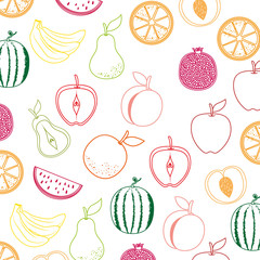 Fototapeta Do przedszkola delicious set fruits healthy food pattern background vector illustration design