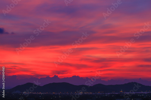 Poster Crimson Beautiful sky at twilight time for background
