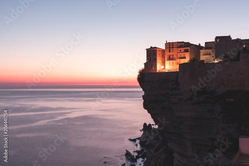 Fotobehang Wintersporten Sunset over the Town of Bonifacio, Corsica Island, France
