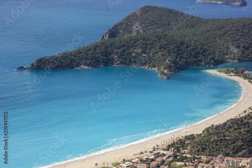 Poster Kust beautiful oludeniz beach from cliff in mountains near mediterranean sea