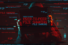 Peer To Peer File Sharing Concept With Faceless Hooded Person