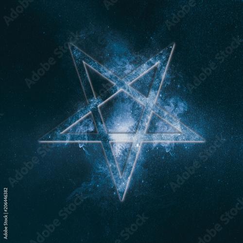 Reversed Pentagram symbol. Abstract night sky background. Canvas Print
