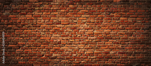 Photo sur Toile Brick wall Red Brick wall panoramic view.