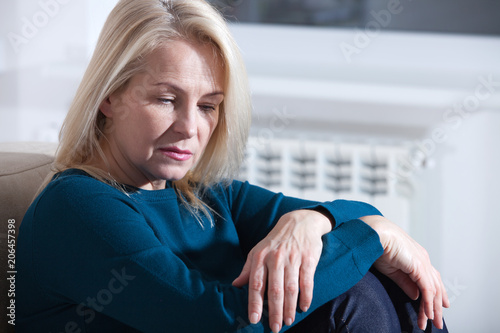 Sad Mature Woman Suffering From Agoraphobia Canvas Print
