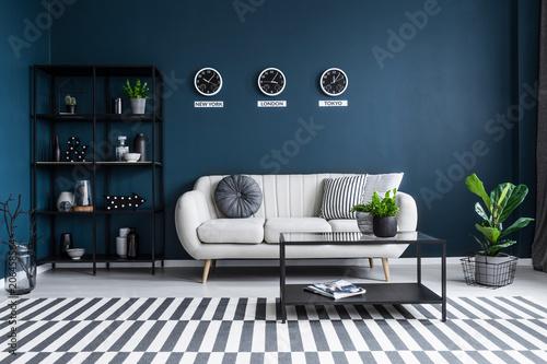 Fényképezés  Navy blue living room interior