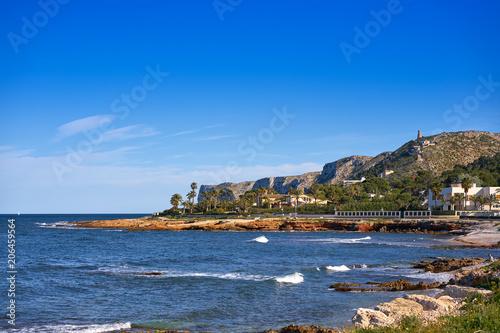 Denia Las rotas beach in spring at Alicante Poster
