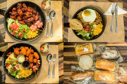 chicken, shrimp, bread, rice on some dishes Wallpaper Mural