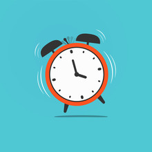 Wake Up Time Illustration. Red Old Retro Ringing Clock