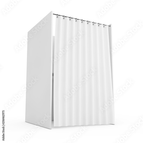 White Voting Booth with Curtain and Blank Space. 3d Rendering Fototapet