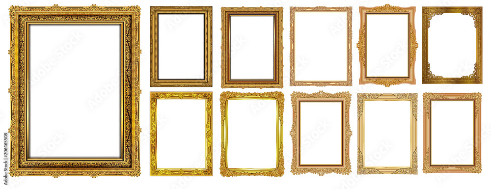 Fototapety, obrazy: Set of Decorative vintage frames and borders set,Gold photo frame with corner Thailand line floral for picture, Vector design decoration pattern style. border design is pattern Thai art style