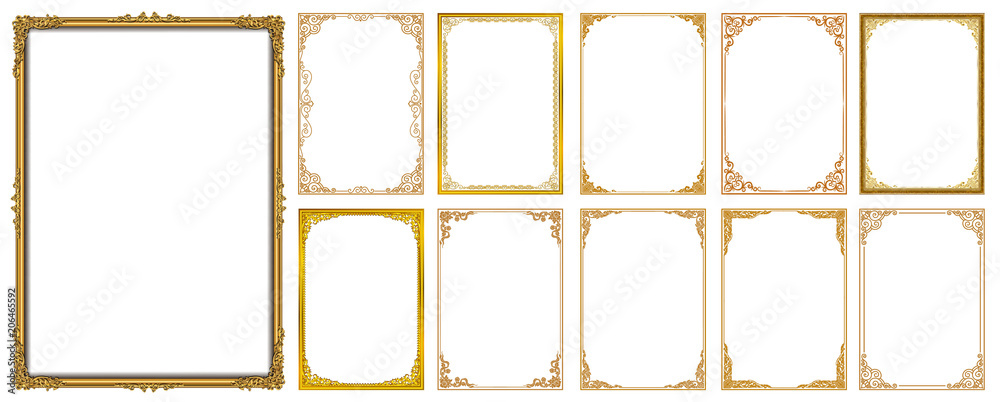 Fototapeta Set of Decorative vintage frames and borders set,Gold photo frame with corner Thailand line floral for picture, Vector design decoration pattern style. border design is pattern Thai art style