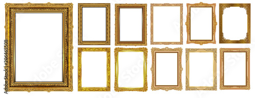 Αφίσα  Set of Decorative vintage frames and borders set,Gold photo frame with corner Thailand line floral for picture, Vector design decoration pattern style