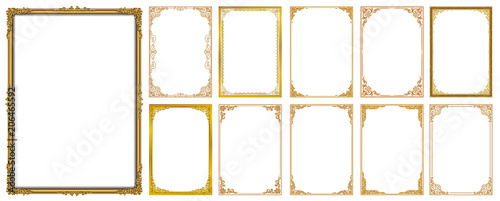 Photo  Set of Decorative vintage frames and borders set,Gold photo frame with corner Thailand line floral for picture, Vector design decoration pattern style