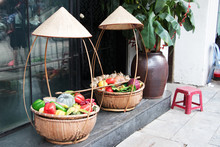 Basket With Hat And Fruits At ...