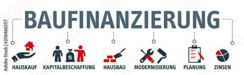 Fototapety, obrazy: Banner Baufinanzierung Konzept. Vektor Illustration mit Piktogrammen