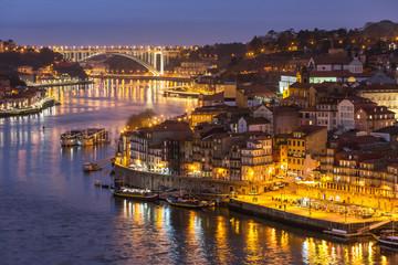 Porto old city skyline from the ponte Dom Luiz bridge at night