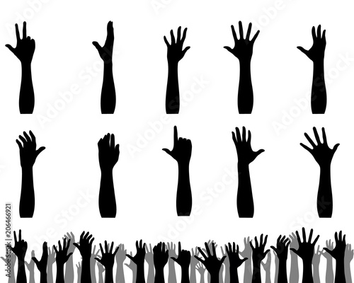 Silhouettes of hands up Fototapete