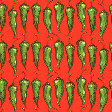 Rustic Kitchen Seamless Pattern With Spicy Peppers