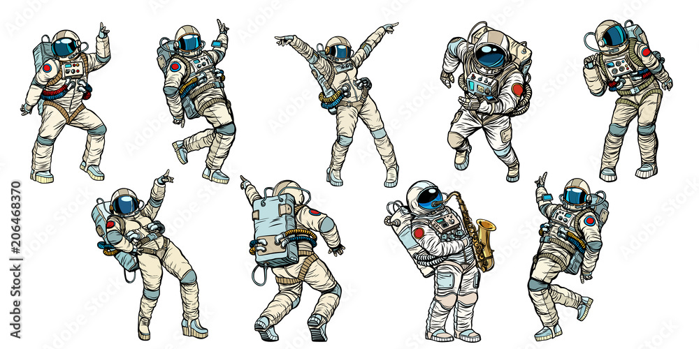 Fototapety, obrazy: Set of dancing astronauts collection