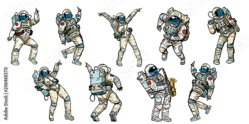 Canvas Set of dancing astronauts collection