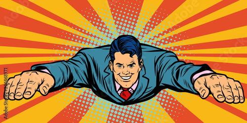 Fotografie, Obraz  Joyful businessman flying, superhero