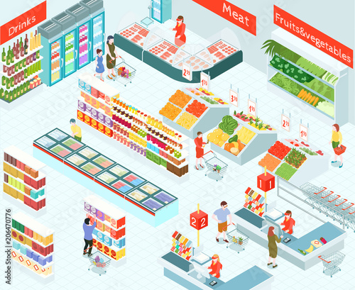 Supermarket Isometric Illustration Canvas Print