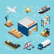 Logistics Isometric Infograhics