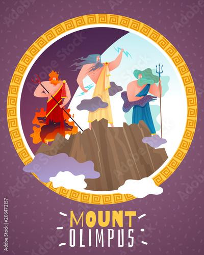 Photo  Mount Olimpus Cartoon Poster
