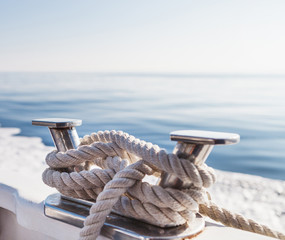 Ship's ropes on the yacht in Ligurian Sea, Italy. Close Up