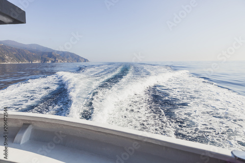 Papiers peints Nautique motorise Sea and mountain views from the yacht. Cinque Terre, Italy, Ligurian Sea