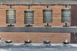 Gebetsmühlen am Swayambhunath Tempelkomplex, Kathmandu, Kathmandutal, Nepal, Asien