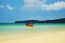 Snow-white Beach And Turquoise Sea On The Island Koh Rong Samloem.