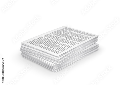 Fotografía  stack of paper, documents. 3d illustration
