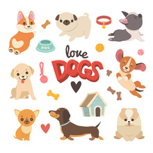 Puppies Collection. Vector Illustration Of Cute Cartoon Different Breeds Dogs, Such As Corgi, French Bulldog, Pug, Beagle, Labrador, Chihuahua And Dachshund. Isolated On White.
