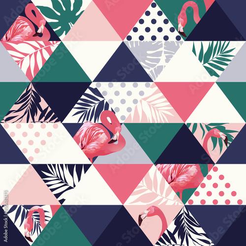 egzotyczny-plazowy-modny-bezszwowy-wzor-patchwork-obrazkowy-kwiecisty-wektorowy-tropikalny-banan-opuszcza-jungle-pink-flamingos