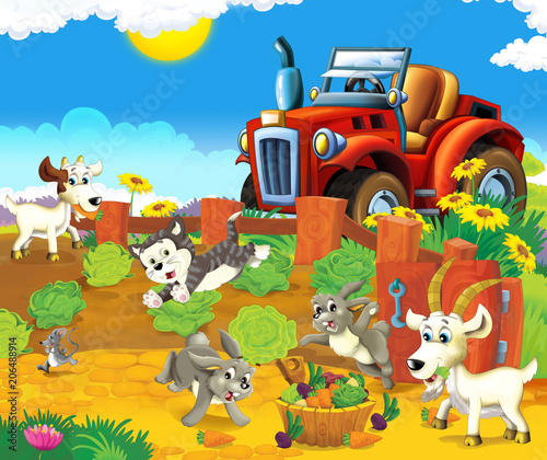 Printed kitchen splashbacks Castle cartoon scene with happy young animals and tractor in the garden - illustration for children