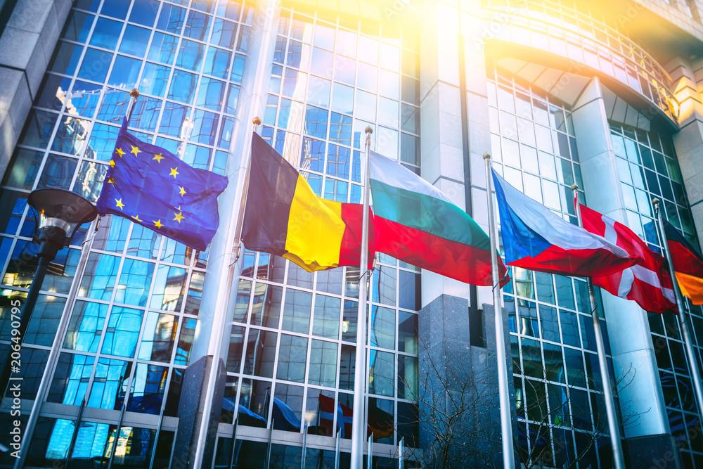 Fototapeta Waving flags in front of European Parliament building, Brussels