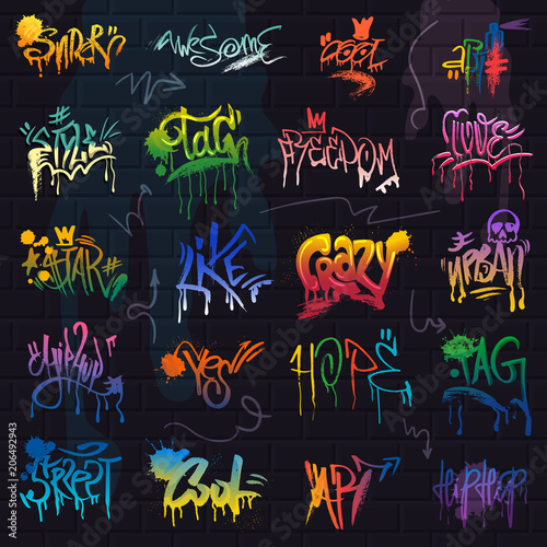 Acrylic Prints Graffiti Graffiti vector graffito of brushstroke lettering or graphic grunge typography illustration set of street text with love freedom isolated on brick wall background