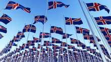 Many Flags Of Iceland Blowing ...