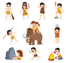 Caveman Kids Vector Primitive Children Character And Prehistoric Child With Stoned Weapon On Mammoth Illustration Set Of Ancient Boy Or Girl In Stone Age Isolated On White Background