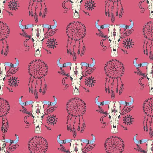 Foto auf AluDibond Boho-Stil Creative vector boho style frames mady ethnic feathers arrows and floral elements seamless pattern background illustration.