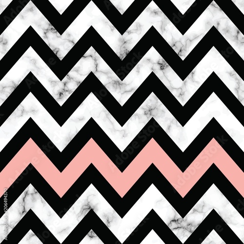 Fototapeta na wymiar Vector marble texture design with geometric chevron shapes, black and white marbling surface, modern luxurious background, vector illustration