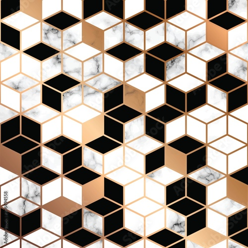 Naklejka dekoracyjna Vector marble texture design with golden geometric lines, black and white marbling surface, modern luxurious background, vector illustration
