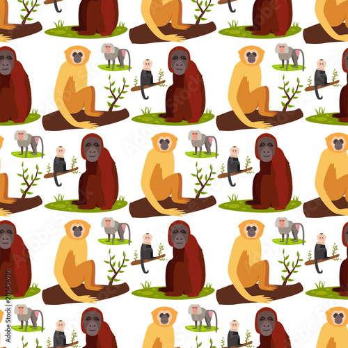 Cuadros en Lienzo Monkey character animal breads seamless pattern background wild zoo ape chimpanzee vector illustration