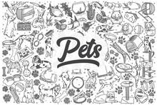 Hand Drawn Pets Vector Doodle Set.