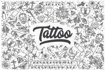 Hand drawn tattoo vector doodle set.
