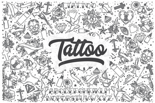 Leinwand Poster Hand drawn tattoo vector doodle set.