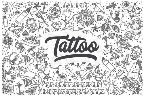 Foto Hand drawn tattoo vector doodle set.