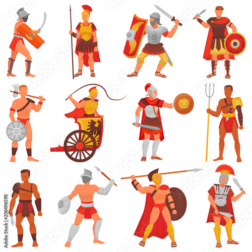 Fotografie, Obraz  Gladiator vector roman warrior character in armor with sword or weapon and shiel