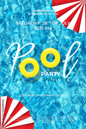 pool party announcement template vector swimming rings umbrellas